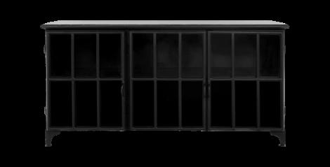 Sideboard Manhattan - Metall / Glas - schwarz