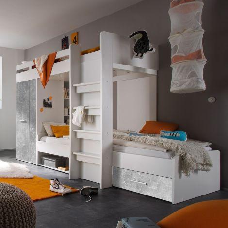 Etagenbett Lopes 90x200cm mit Kleiderschrank - Beton/Weiß
