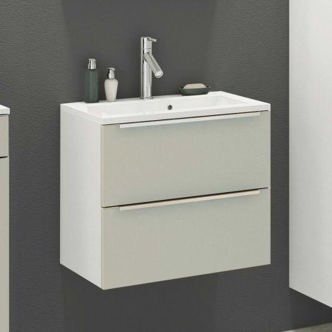 Waschbeckenschrank Hansen L60xT48cm 2 Schubladen - grau/weiß