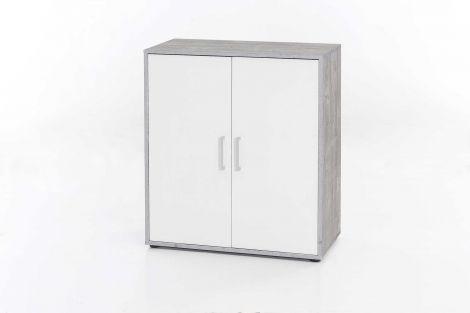 Kommode mit 2 Türen - Melamin Beton / Weiß Dekor
