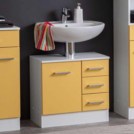 Waschbeckenschrank Ricca 60cm 1 Tür und 3 Schubladen - weiß/gelb