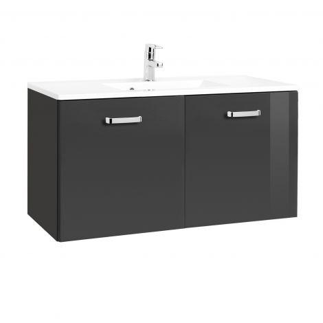 Waschbeckenschrank Bobbi 100cm 2 Türen - graphit/hochglänzend grau