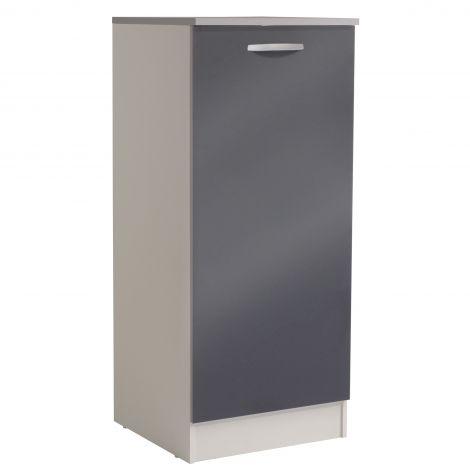 Küchenschrank Löffel H140 cm mit Tür - glänzend grau