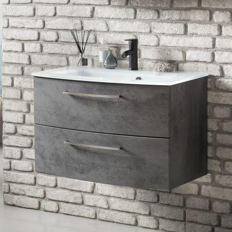 Waschbeckenschrank Stivan 80cm weißes Waschbecken - Beton