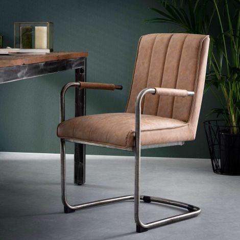 Stuhl gestreiftes Schaukelrahmen VPE 2 - Wax PU cowhide Braun
