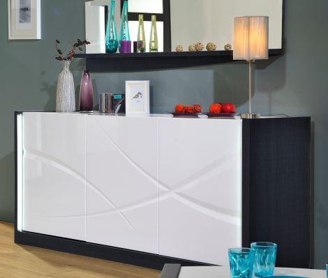 Sideboard Eloa 190cm 3 Türen - Hochglanz weiß/schwarz