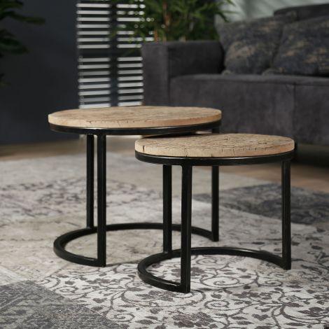 Beistelltisch Set - 2 runde - halbrunde Rahmen - Robustes Hartholz