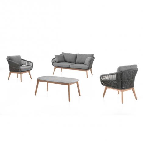 Amela lounge set rope black + cushions
