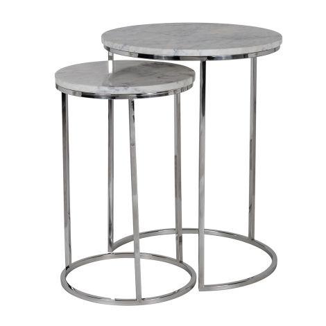2er-Set Beistelltische Lacey - silber/grau