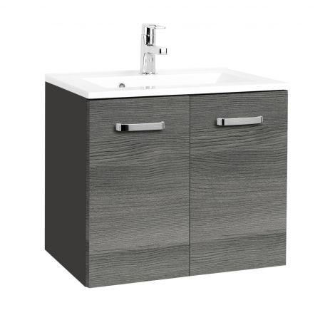 Waschbeckenschrank Bobbi 60cm 2 Türen - graphit/quecksilber