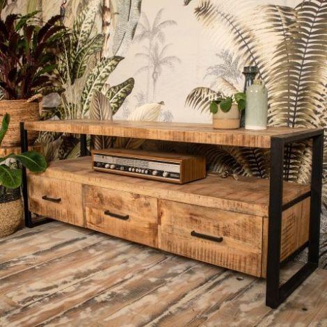 Tv-Möbel Havana 150cm mit 3 Schubladen - Mangoholz/Eisen