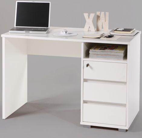 Schreibtisch Primos 110cm mit 3 Schubladen - weiß