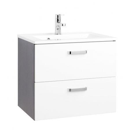Waschtischunterschrank Bobbi 60cm 2 Schubladen - graphit/hochglanz-weiß