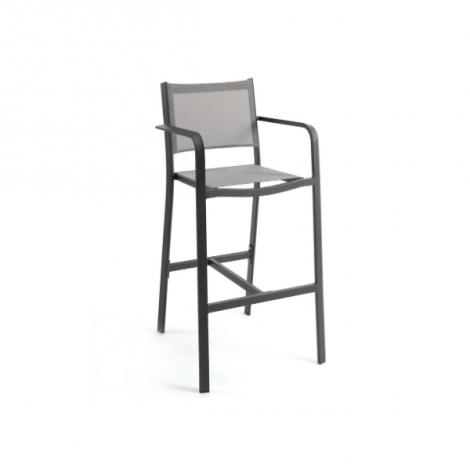 Levante bar chair alu charcoal textylene silver gr