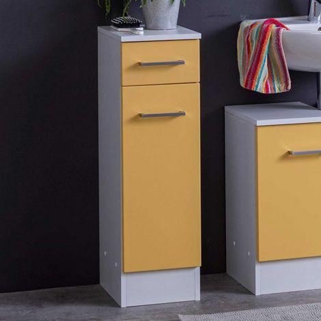 Badezimmerschrank Ricca 25cm 1 Tür und 1 Schublade - weiß/gelb