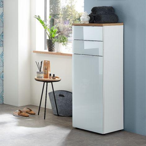 Badezimmerschrank Sepp mit 1 Tür und 2 Schubladen - weiß/Eiche