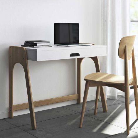 Schreibtisch Aura 94cm - weiß/Eiche