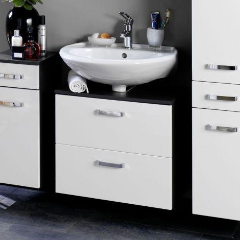 Waschtischunterschrank Bobbi 60cm 1 Tür und 1 Softclose-Schublade - graphit/hochglanz-weiß