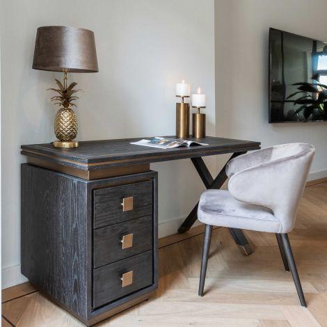Schreibtisch Gunther 150cm 3 Schubladen - schwarz/gold
