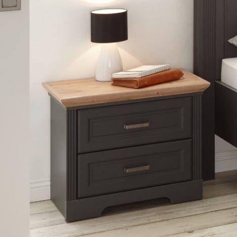 Nachttisch Jacco 65cm mit 2 Schubladen - graphit/quecksilber