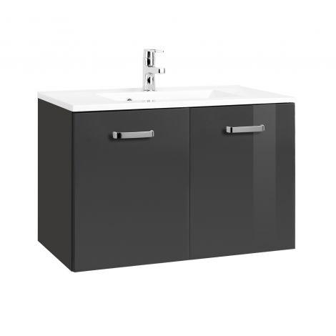 Waschbeckenschrank Bobbi 80cm 2 Türen - graphit/hochglänzend grau