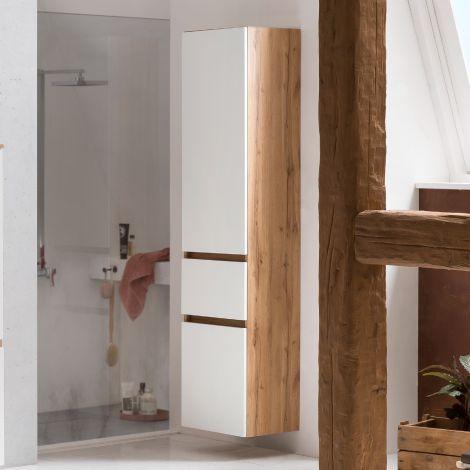Säulenschrank Kornel/Luna 40cm 2 Türen und 1 Schublade - Eiche/mattweiß