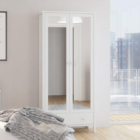 Wardrobe TROMSÖ 104 - Wardrobe with 2 mirror doors and 1 drawer - WHITE