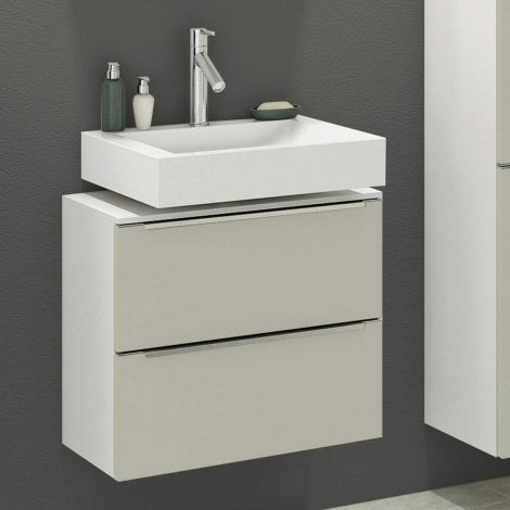 Waschbeckenschrank Hansen 60cm 2 Schubladen - grau/weiß