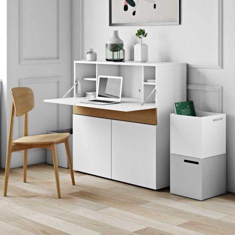 Schreibtisch/Lagerschrank Fox 110cm - weiß/Eiche