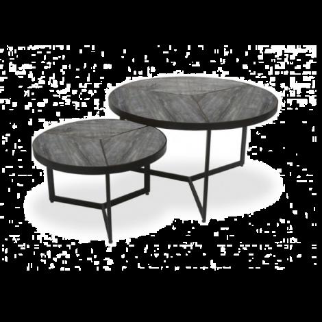 2er-Set Beistelltische Arya - Grau/Metall