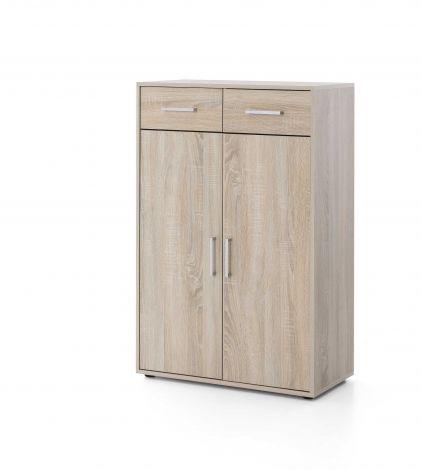 Serie Maxi-Office, Schrank breit mit 2 Türen und 2 Schubladen, 110,5 cm hoch - Sonoma Eiche Dekor