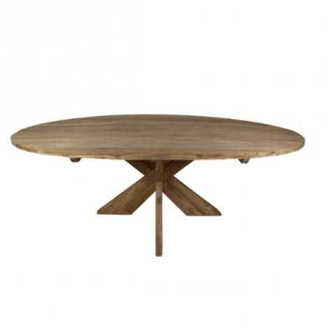 Esstisch Mosy 220x110cm oval mit Kreuzfüßen natur/teak