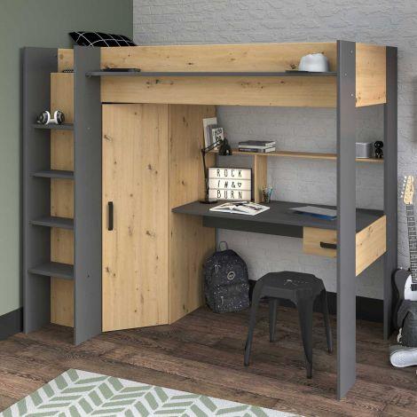 Hochbett mit Schreibtisch Herv 90x200 - Eiche artisan/grau