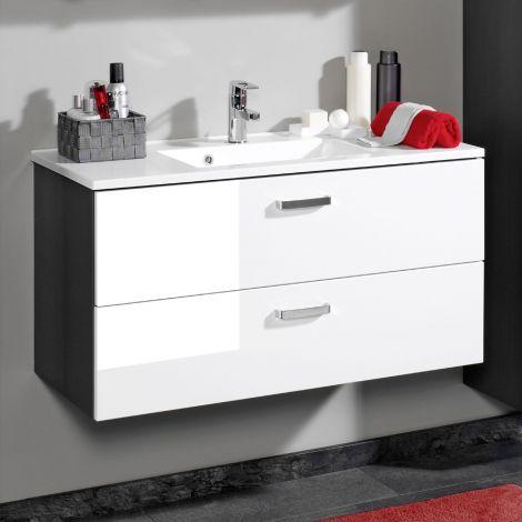 Waschtischunterschrank Bobbi 80cm mit 2 Schubladen und Keramikwaschbecken - graphit/hochglanz-weiß
