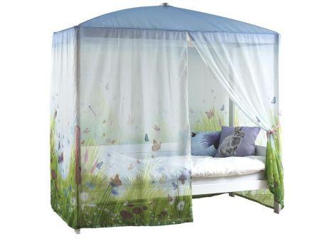 Himmelbett - weiß lackiert mit Schmetterling Vorhang