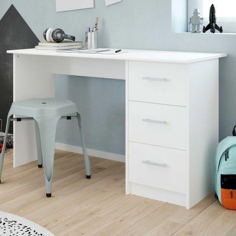 Schreibtisch Infinity 121cm mit Schubladen - weiß