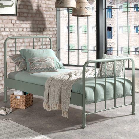 Einzelbett Bronxx Metall 90x200 - matt olivgrün