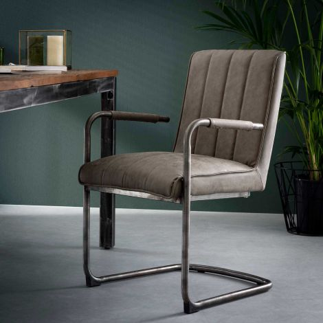 Stuhl gestreiftes Schaukelrahmen VPE 2 - Wax PU Taupe