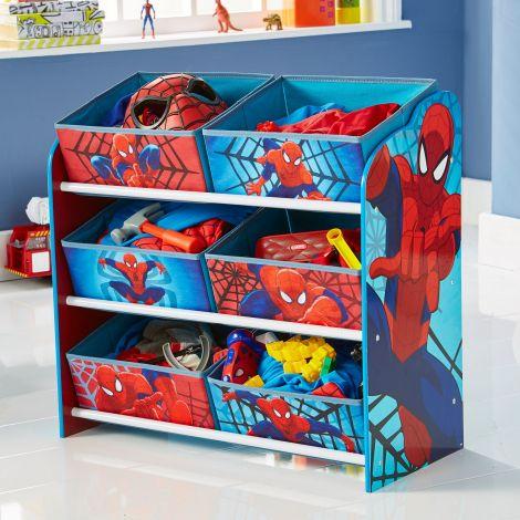 Regal mit 6 Boxen - Spiderman