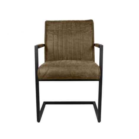 2er Set Esszimmerstühle Texas mit Armlehnen Yachtleder/Metall khaki