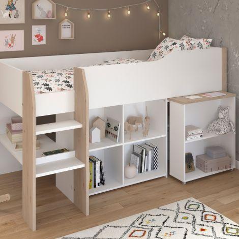 Halbhoher Schlafplatz mit Schreibtisch Moscon 90x200 - weiß/Eiche