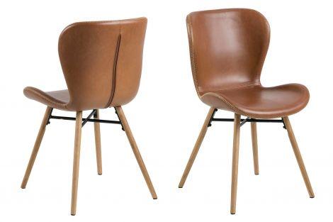 2er Set Kunstlederstühle Tilda mit schrägen Beinen - cognac/eiche