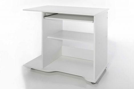 PC-Tisch auf Rollen - Weiß Dekor