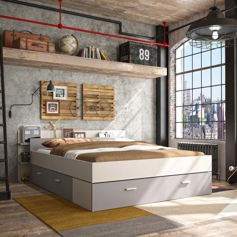 Bett mit Stauraum Eveline 140x190 - weiß/grau