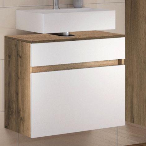 Waschbeckenschrank Luna 60cm 1 Schublade - Eiche/Weiß
