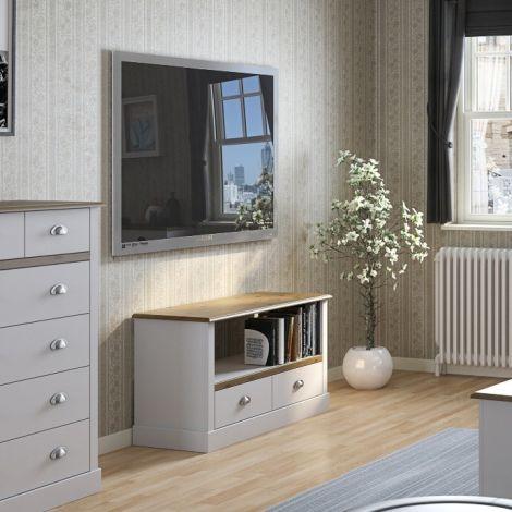 TV-Schrank Silia 100cm mit 2 Schubladen - weiß/natürlich