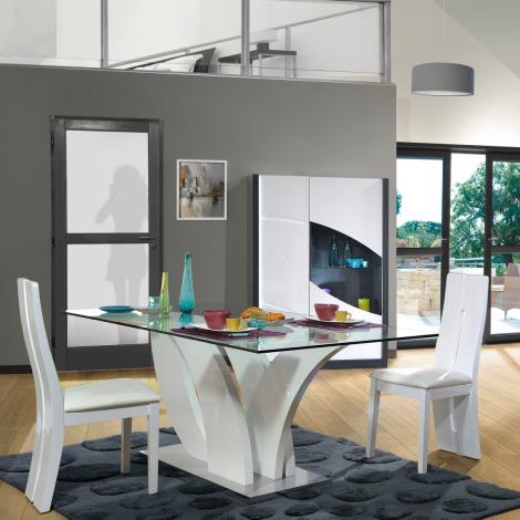 Eloa 200x100 Esstisch mit Glasplatte - hochglänzend weiß