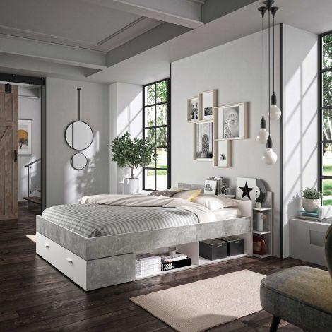 Bett mit Stauraum Eveline 140x190 - weiß/Beton