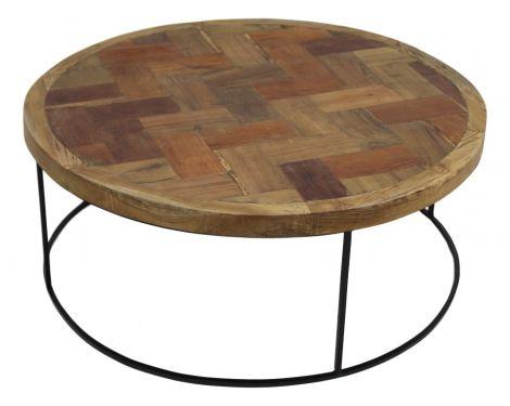 Couchtisch-Mosaik - ø80 cm - Teak / Eisen