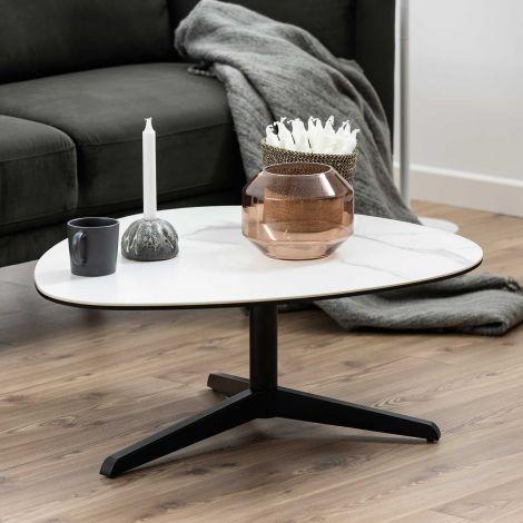 Couchtisch Bartos 84x77 Keramik - weiß/schwarz